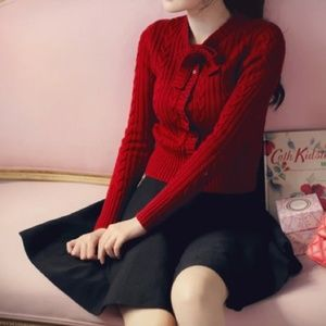 Sweaters - Red burgundy bow cardigan sweater
