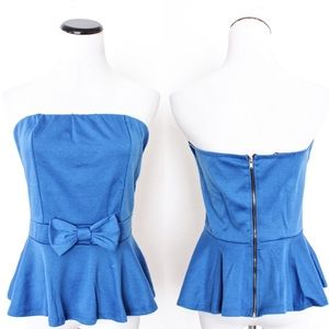 Ambiance Apparel Tops - Cobalt Blue Bow Tube Peplum Top