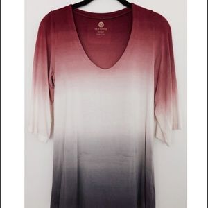 Lily Lotus Tops - Red to grey ombré tunic top