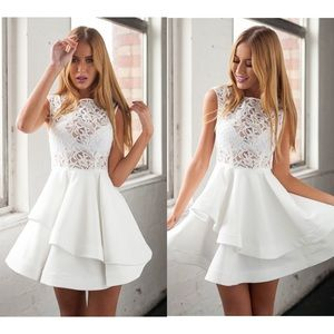  SALE Tiered Lace White Dress!
