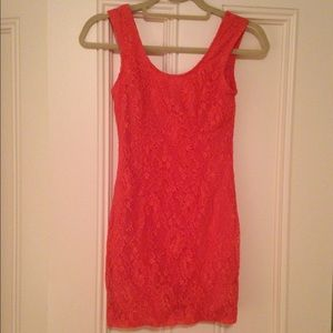 Lovers + Friends lace coral mini dress