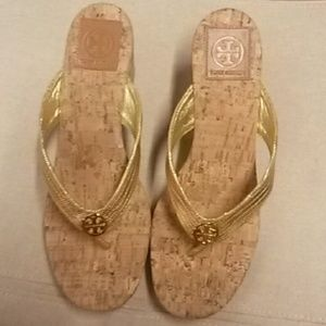 NWT Tory Burch gold wedge sandals size 9