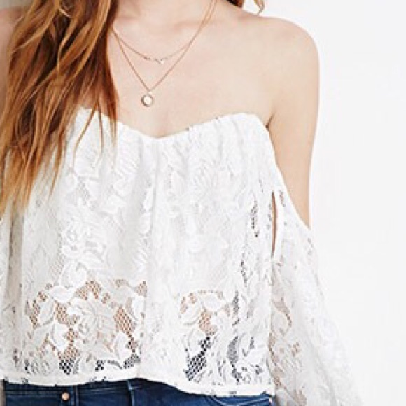 34b5c061ae2aa Forever 21 Tops - Off The Shoulder Lace Crop Top