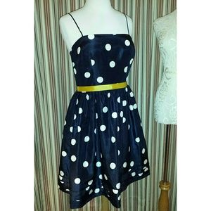 🍀VTGHP×2🍀 Navy & White Polka Dot Dress
