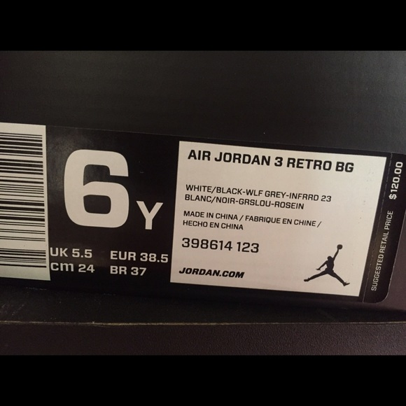 Jordan Shoes - Air Jordan 3 Retro White Cement 6Y