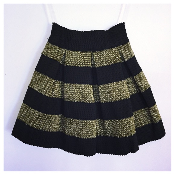 80% off Dresses & Skirts - NWT Black & Gold Stripe Skater Skirt ...