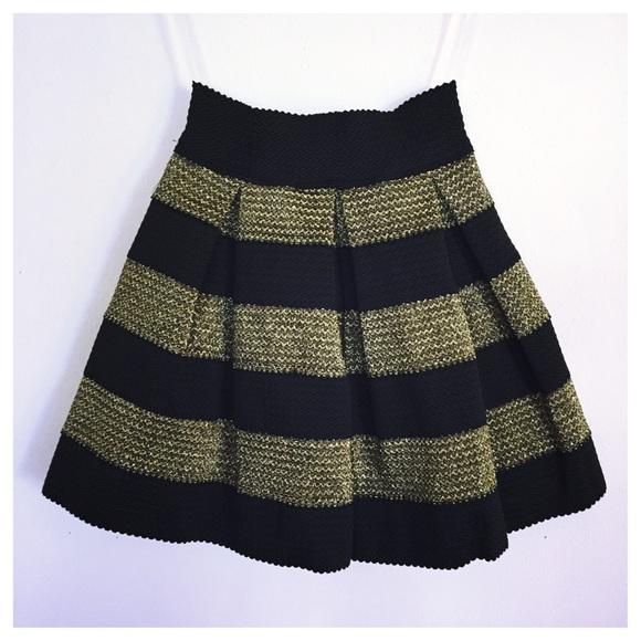 80% off Dresses & Skirts - NWT Black & Gold Stripe Skater Skirt ...