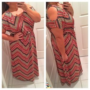 SOLD IN BUNDLE Chevron cold shoulder maxi