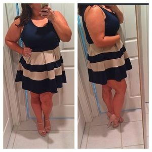 Navy and tan pleated dress