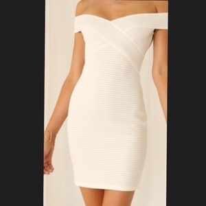 CREAM/WHITE BODYCON DRESS