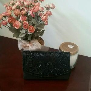La Regale Handbags - Black Purse with beads and cord strap!