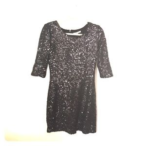 Fitted black sequin dress