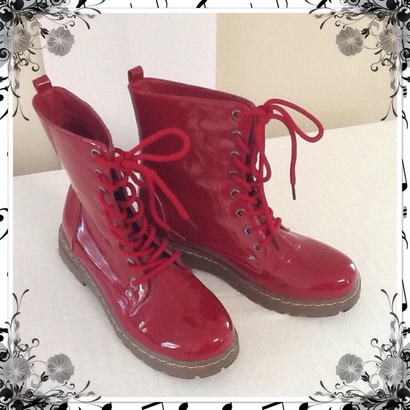 99f307ea160 CL Laundry Boots - 🌺NEW LISTING🌺 Red Patent Leather Combat Boots