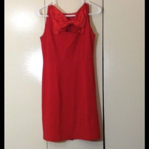 Red Scuba Bow Dress