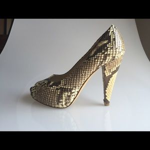Bally Natural Genuine Python Peep Toe Pumps