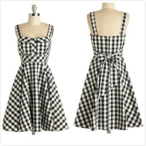 modcloth dresses nwt retro black white plaid dress sz s poshmark