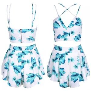 f07166a4080b Tops - White Green Floral Crop Top Shorts Two Piece Set