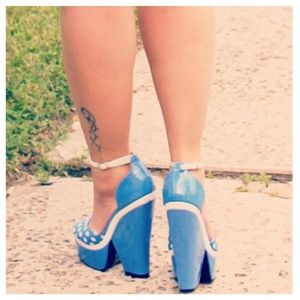 Mod Blue & White Polka Dot Wedge Heels