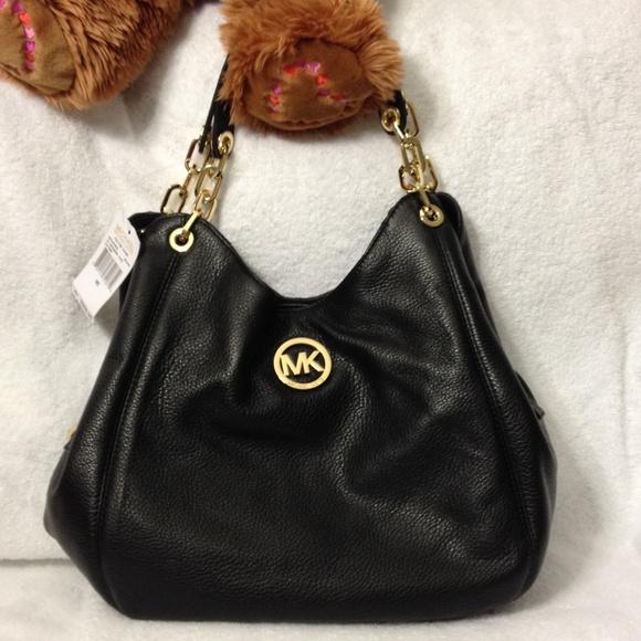 28f71abb5736 Bags   Mk Fulton Chain Leather Shoulder Bag Tote Black   Poshmark