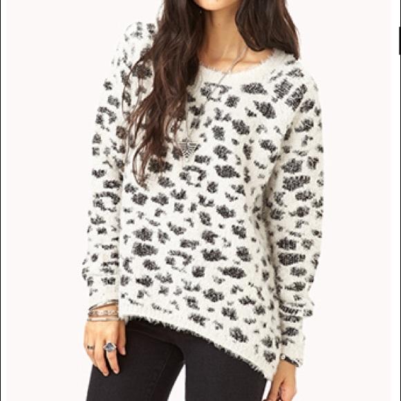 off white leopard print eyelash sweater