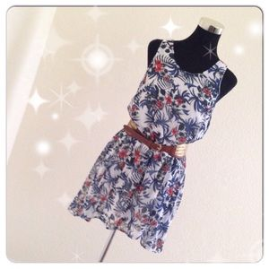 Paper Crane Dresses & Skirts - Floral Swing Dress With Cutout Back NWT