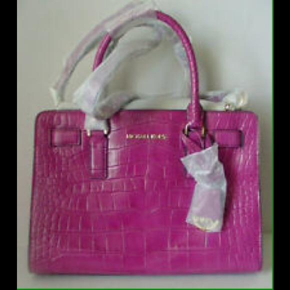 Michael Kors Bags   Mk Pink Dillon Croc   Poshmark ce9d6ad9ee
