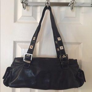 Perlina Handbags - 🛍 Perlina Black Leather Shoulder Bag