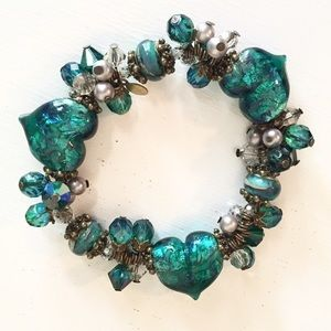 Jewelry - Lampwork and crystal bracelet