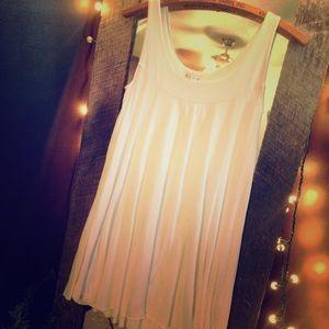 White (Slightly) Shimmery Pleated Flowy Dress