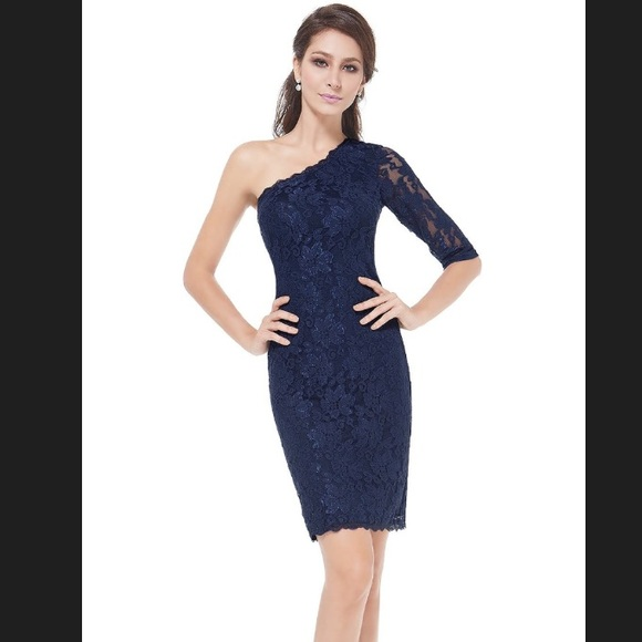 One Shoulder Navy Blue Lace Dress Nwt