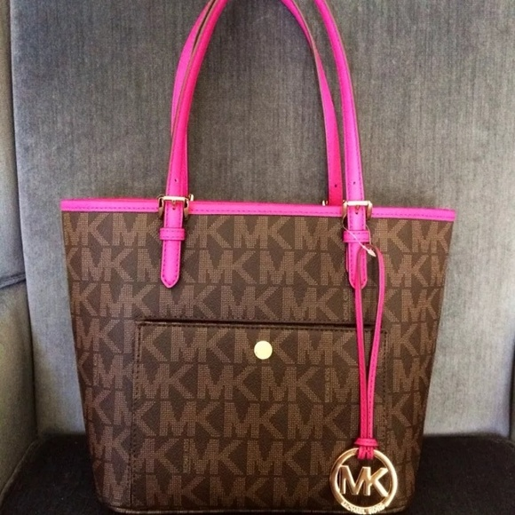 66f6f476f348 Fuschia and brown jet set snap tote