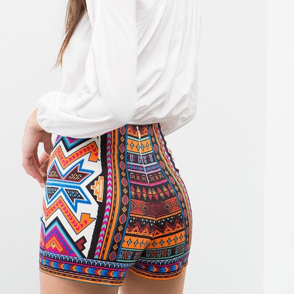 43% off Pants - Tribal print shorts sz m high waist from B no ...