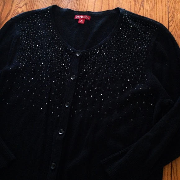 80% off Merona Sweaters - 🌟4 for $20🌟Black Sparkle Cardigan ...