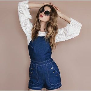Blue Jean Baby Strappy Lattice Back Overall Romper