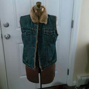 Faux fur lined denim vest