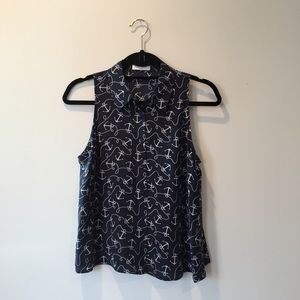 Equipment Tops - Silk Button-Down Anchor Tank