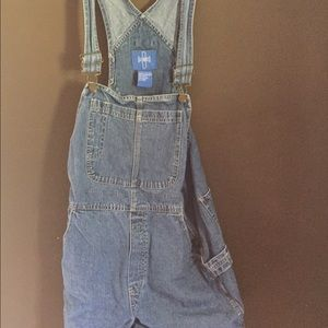 Denim - Overall shorts size large.