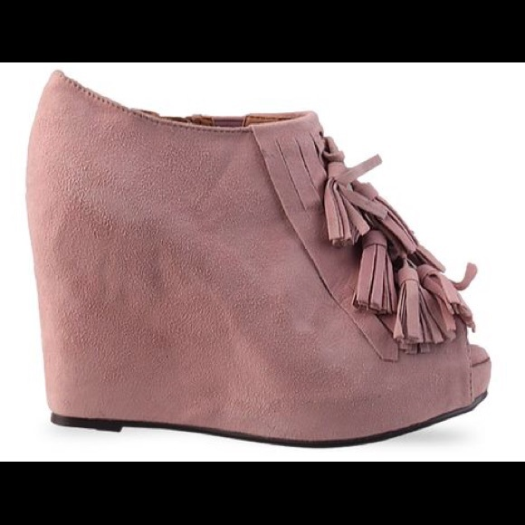 Jeffrey Campbell Shoes - Jeffrey Campbell Mary-Lou Pink Suede Tassel Wedges