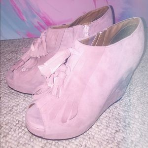 Jeffrey Campbell Mary-Lou Pink Suede Tassel Wedges