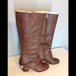 Fergie Theory Cognac Cuffed Knee High Boots