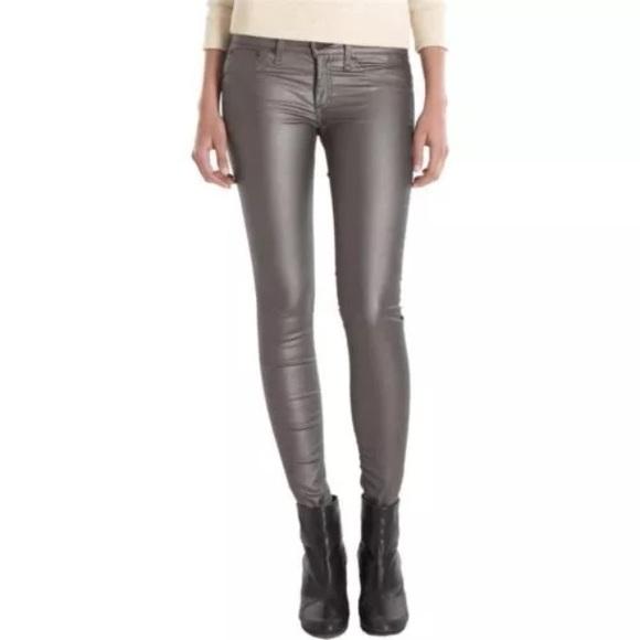 126d03b8226 Rag   Bone Silver Metallic Skinny Leggings
