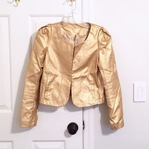 Jackets & Blazers - Gold faux leather cropped jacket