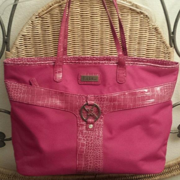 Nicole Miller Bags Large Fuschia Tote Bag Poshmark
