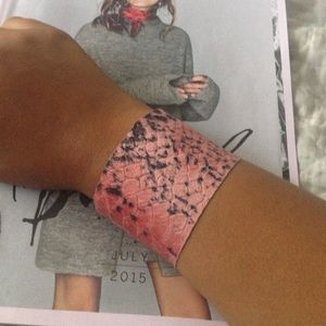 Pink and black phyton leather cuff!