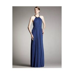 Blue Robert Rodriguez Jennifer Beaded Halter Dress