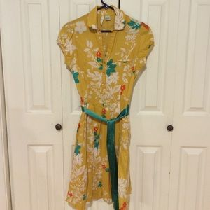 Vintage-style Rockabilly yellow  teal floral dress