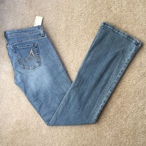 Anchor Blue Denim - Light Medium Wash Blue Bootcut Denim Jeans 3 3R
