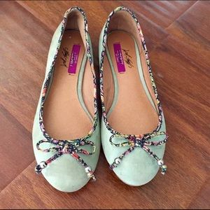 Lord & Taylor Liberty Art Fabrics Mint Suede Flats