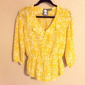 Anthropologie Tops - 💜SALE💜NWOT Girls From Savoy Yellow Silk Blouse