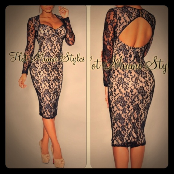 fe3bca6bde8 Hot Miami Styles Dresses & Skirts - Navy Blue Lace Nude Illusion Sleeved  Midi Dress
